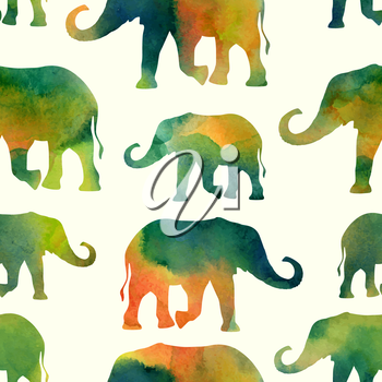 Watercolor pattern with elephHANTS