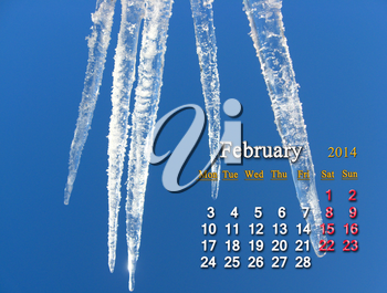 calendar for the Fabruary of 2014 on the background of icicles