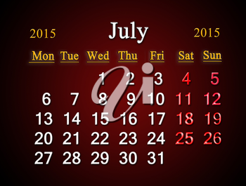 beautiful claret calendar on July of 2015 year