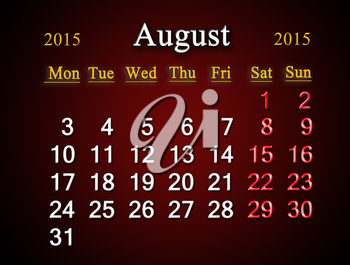 beautiful claret calendar on August of 2015 year