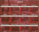 calendar for 2015 year on lilac trodden pattern