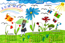 Multicolored drawing with butterflies and flowers and schoolgirl with summer calendar