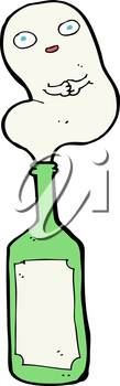 Royalty Free Clipart Image of a Ghost in a Bottle