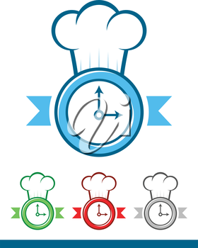 Icon of a clock wearing a chef hat