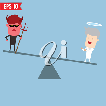 Devil and angel comparison for good and bad concept - Vector illustration - EPS10