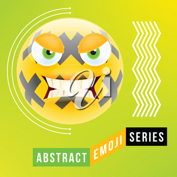 Abstract Cute Angry Emoji with Big Eyes. Abstract Emoji Series. Yellow Crazy Angry Emoticon Face on Green Background
