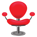 colorful illustration with red chair on white background