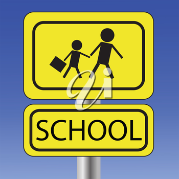 colorful illustration with  yellow school sign  on blue sky background