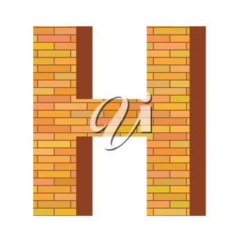 colorful illustration with brick letter H  on a white background