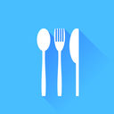 Knife Fork and Spoon Silhouette isolated on Blue Background.