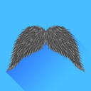 Grey Mustache Isolated on Blue Background. Long Shadow.