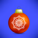 Christmas Red Ball Isolated on Blue Background