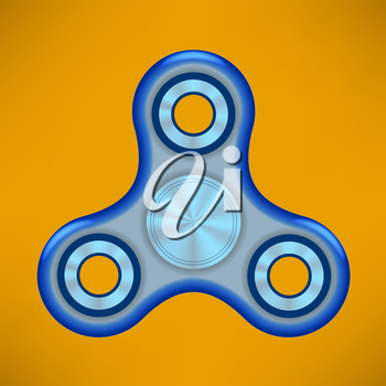 Fidget Finger Spinner Icon Isolated on Orange Background. Modern Stress Relieving Toy