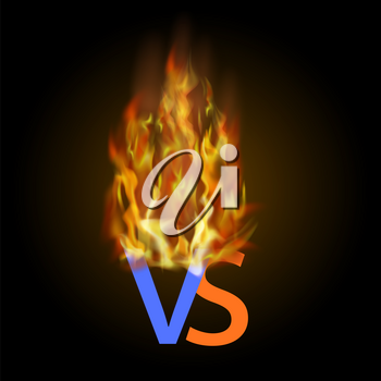 Burning Concept of Confrontation, Together, Standoff, Final Fighting. Versus VS Letters Fight Background with Fire Lights