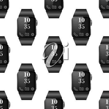 Black Smart Watch Seamless Pattern Isolated on White Background.