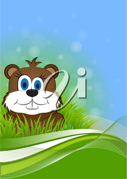 greeting card on Groundhog day with the image of the animal Groundhog