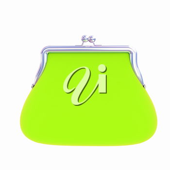 green purse on a white