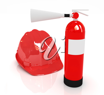 Red fire extinguisher and hardhat on a white background