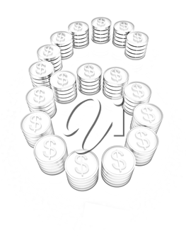 the number six of gold coins with dollar sign on a white background