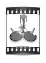 pan and cutlery on a white background. The film strip