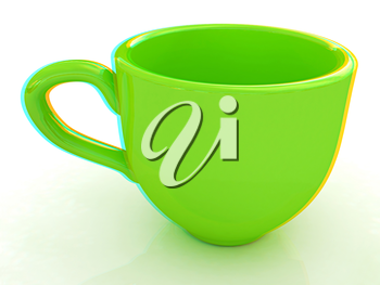 mug on a white background. 3D illustration. Anaglyph. View with red/cyan glasses to see in 3D.