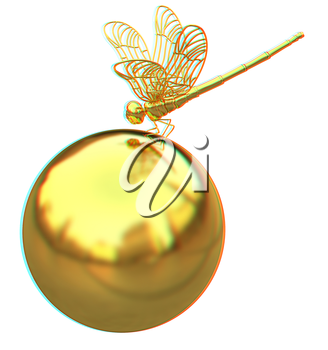 Dragonfly on abstract design sphere. 3D illustration. Anaglyph. View with red/cyan glasses to see in 3D.