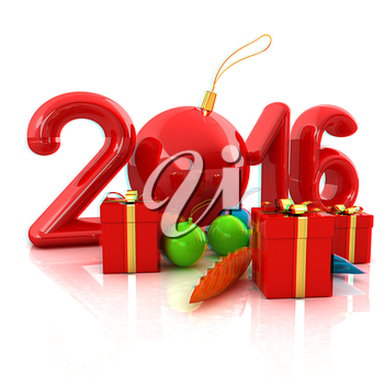 Happy new 2016 year. 3D illustration. Anaglyph. View with red/cyan glasses to see in 3D.