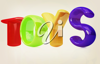 Toys 3d text on a white background. 3D illustration. Vintage style.