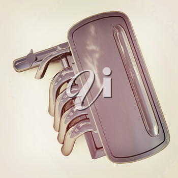 Exhaust system on a white background. 3D illustration. Vintage style.