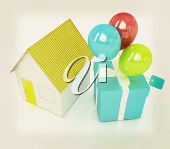 House with gift and ballons on a white background. 3D illustration. Vintage style.