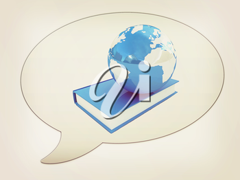 messenger window icon. Book and earth . 3D illustration. Vintage style.