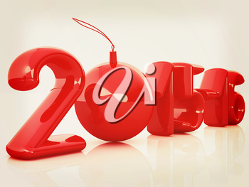 Happy new 2016 year. 3D illustration. Vintage style.