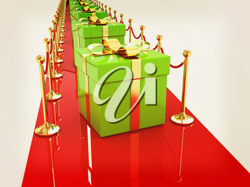 Beautiful Christmas gifts on New Year's path to the success. 3D illustration. Vintage style.