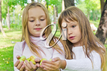 Photo of two girls with apples in summer