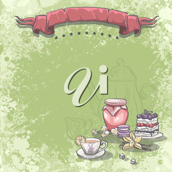 Royalty Free Clipart Image of a Background With Tea, Jame, Desserts and a Vanilla Flower