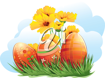 Royalty Free Clipart Image of Easter Eggs and Flowers