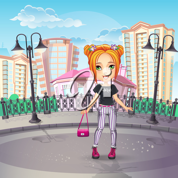Royalty Free Clipart Image of a Girl in the City