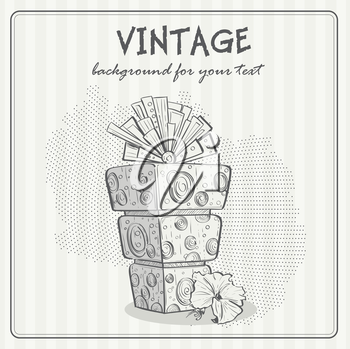 Royalty Free Clipart Image of a Vintage Background Birthday Cake