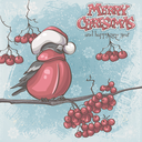 Greeting card for Christmas and New Year depicting bullfinches on branches of a mountain ash
