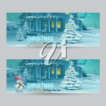 Set of horizontal banners with Christmas and New Year with the image of a snowy night with a snowman and Christmas trees
