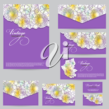 Set design for business cards, envelopes, postcards. floral backgrounds