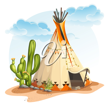 Illustration of the North American Indian tipi home with cactus and stones