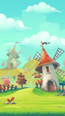 Cartoon stylized vector illustration on the theme of the European landscape with a windmill mobile format. For print, create videos or web graphic design, user interface, card, poster.
