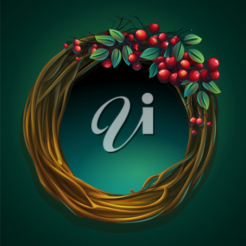 Vector cartoon illustration wreath of vines and leaves on a green background with ashberry