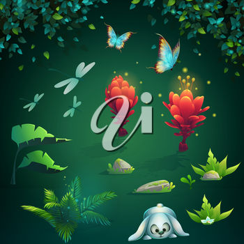 Set of different images for game user interface. Vector illustration screen to the computer game Shadowy forest GUI. Background image to create buttons, banners, graphics.