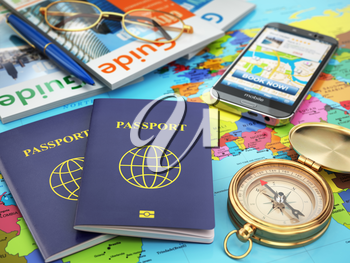 Travel guide concept. Passport, compass, guide books, mobile phone on the world map. 3d