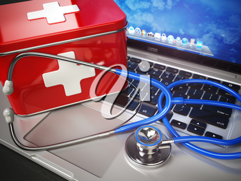 First medical aid or technical support concept. Laptop with first aid kit and stethoscope. 3d illustration