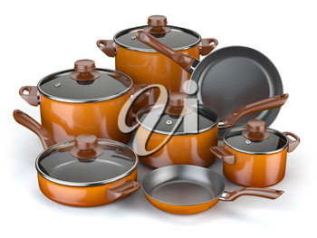 Pots and pans. Set of cooking kitchen utensils and cookware. 3d illustration