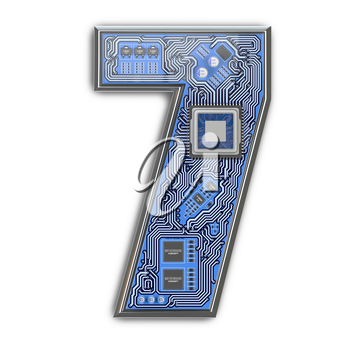 Number 7 seven Alphabet in circuit board style. Digital hi-tech letter isolated on white. 3d illustration