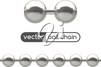 Seamless silver ball chain with lock isolated on white.